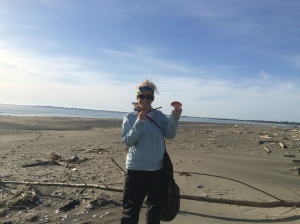Here I am collecting crab shell bodies. For some reason there were hundreds of crab shells washed ashore.